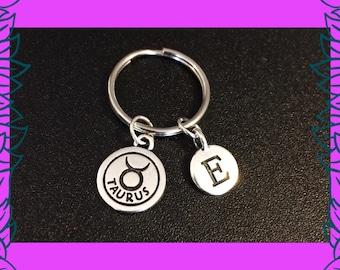 Taurus April May birthday gift idea, Taurus astrology zodiac birthday gift for her, custom letter E charm, personalised keyring keychain