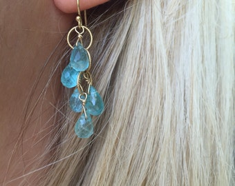 Blue earrings, Apatite earrings, Apatite, Gold dangle earrings, Dainty earrings, Gemstone earrings, Apatite dangle earrings, Teal earrings