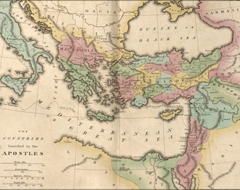 Poster, Many Sizes Available; Bible Map Of Travels Of The Apostles 1826