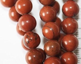 "Genuine Red Jasper Beads - Round 8 mm Gemstone Beads - Full Strand 15"", 46 beads, A Quality"