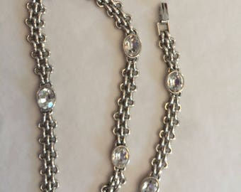 Vintage Monet Silvertone and Crystal Chain Necklace