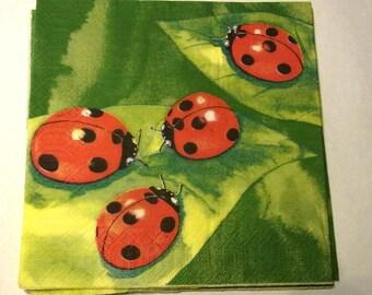 Decoupage Napkins,  vintage paper napkins, large lady bugs on green.