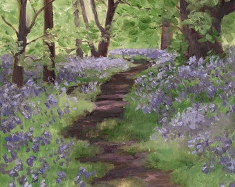 Bluebell Path in the Forest - Fine Art Landscape Print of Oil Painting - Brandy Woods