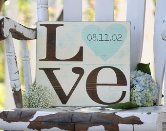 "Wedding date sign, LOVE sign, Hand painted wood sign, Great wedding gift or Anniversary gift,  Measures 11"" x 12"""