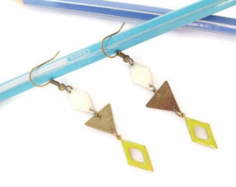 Lime and white brass earrings