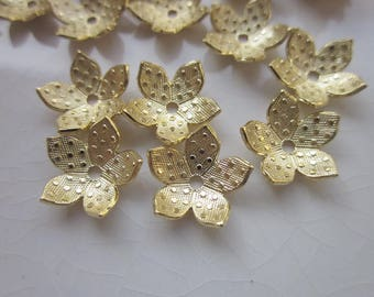 Vintage Stampings, Gold-Plated Brass Polka Dot Flower with Center Hole, 11mm