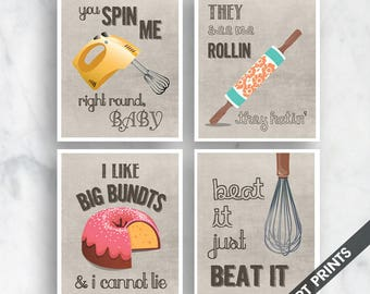 Spin Me, Rollin, Big Bundts, Beat It (Funny Kitchen Song Series) Set of 4 Art Prints (Featured in Vintage Linen) Kitchen Art