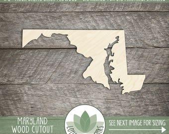 Maryland, Unfinished Wood Maryland Laser Cut Shape, DIY Craft Supply, Many Size Options, Blank Wood Shapes