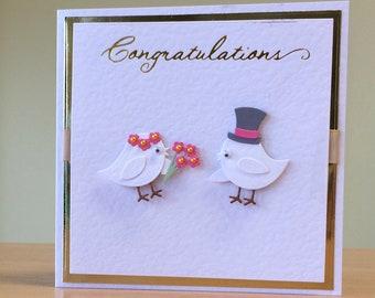 Wedding Car, Handmade - Cute Wedding Congratulations Card, Handmade - Bride & Groom Card, Handmade - Wedding Love Birds Card, Handmade
