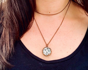 Handmade Shattered Glass Circle Pendant Statement Necklace