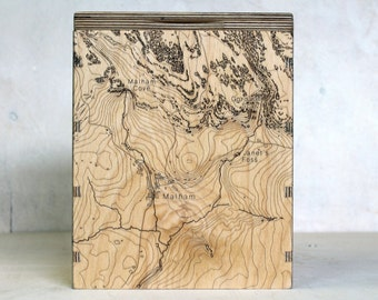 Map Box - Malham - OS Map Storage - Engraved Map Box - Storage Box for Maps