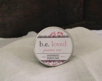 Perfume Balm, Jasmine Rose, Vegan Solid Perfume, b.e. loved