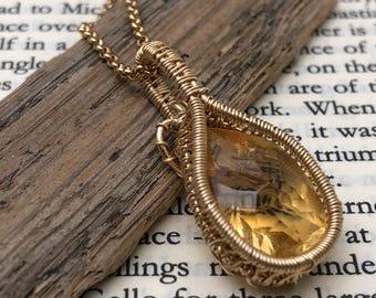 Gold & Citrine Petite Pendant