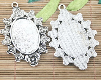 4pcs Tibetan silver flower oval cameo cabochon settings EF1206
