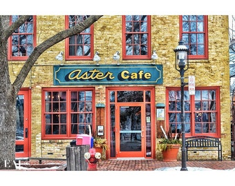 Cafe Aster/Main street/Color Photography/Minneapolis/cafe/wall art/whimsy/architecture