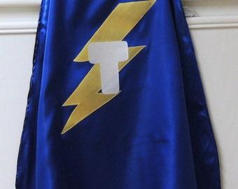 Personalized superhero cape, Batman cape, lightning bolt cape, birthday party cape