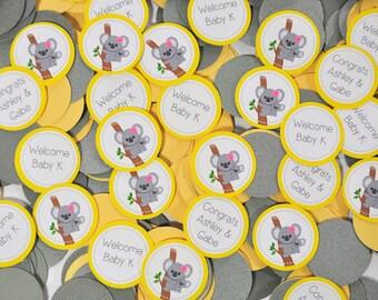 Yellow Gray Koala Baby Shower Personalized Confetti Custom Colors Gender Neutral Birthday Decoration