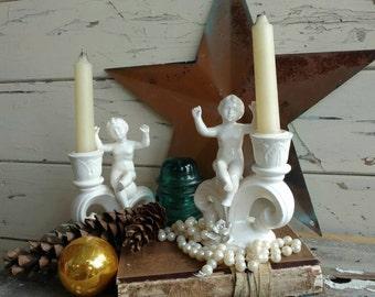 Vintage Angel White Candleholders - Antique Ceramic Matching Cherub Candle Holders, Ivory Candle Sticks, Valentine's Cherub Candle Holders