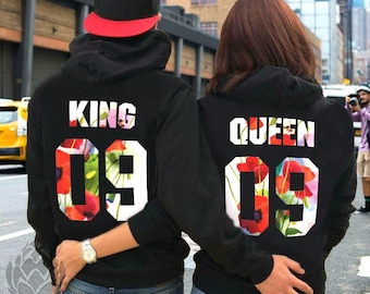 Couples hoodies couples sweaters King and Queen sweatshirts king and queen hoodies king and queen couple sweatshirts anniversary gift hoodie