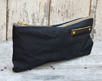 Black Pouch, Medium Waxed Canvas Pouch, Coal, Pencil Case, Pen Pouch, Zipper Pouch, Canvas Pouch, Bags and Purses Organizer, Gadgets Pouch
