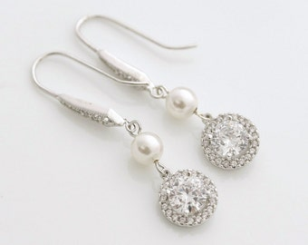 Bridal Pearl Drop Earring, Wedding Pearl Jewelry Cubic Zirconia Pearl Drop Earrings Silver Swarovski Pearl Wedding Jewelry