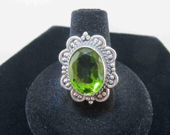 Large Olivine Green Rhinestone Ring Size 6.25