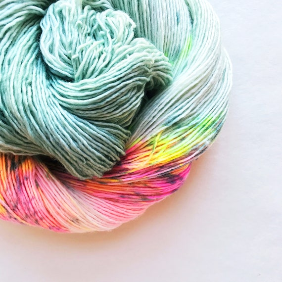 MINT MERINGUE hand dyed yarn. speckle and semi-solid