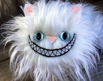 NEW! Tindle Kitty Pillow 11 inch grinning long white plush fur by Karen Knapp of Tindle Bears