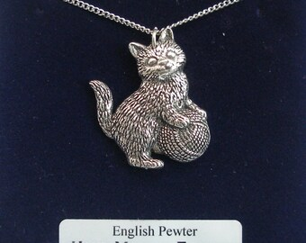 Kitten (cat) Playing Necklace in Fine English Pewter, Hand Made and Gift Boxed