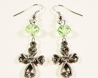 Silver Cross Charm Earrings, Peridot Green Crystal Bead Earrings, Beaded Dangle Earrings, Beadwork Earrings, Religious Jewlery