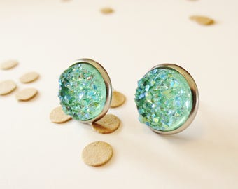 Mint Druzy Studs, Silver Earrings, Mint and Silver, Mint Earrings, Druzy Earrings, Nickle Free, Bridesmaid Gift