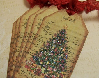 Christmas Tree Tag Christmas Tag Vintage Style - Set of 8