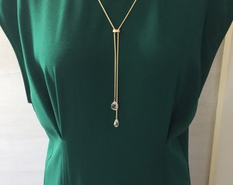Lariat, Gold and crystal Lariat Necklace, Long necklace, Gold lariat, Gift for her, Charm necklace, everyday use