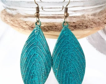 Tibetan Jewellery Gold Bronze Verdigris Boho Leaf Earrings With Gift Pouch