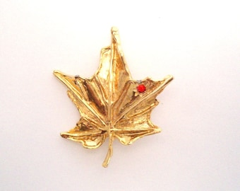 Vintage, Gold Maple Leaf Brooch with red diamante