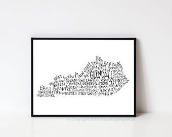 Hand lettered GLENDALE Kentucky Word Art Print // 8x10