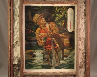 Vintage Lithograph in Twig Frame- Rustic Scene - Fisherman, cabin decor, father's day