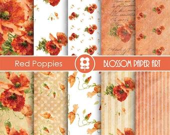 Digital Paper, Poppies Digital Paper Pack, Red Floral Collage Sheet, Digital Scrapbooking Pack - Decoupage - 1638