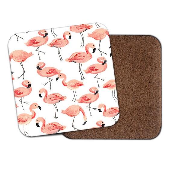 Flamingos everywhere watercolor coaster - Cute coaster 2S018