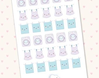 30 Cute laundry day washing machine planner stickers kikki k, fikofax, Erin Condren