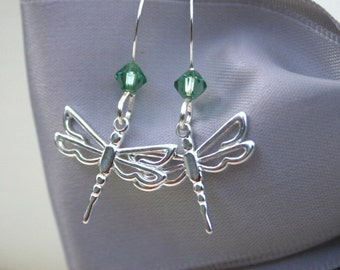 Sterling Dragonfly earrings with or without Swarovski Elements