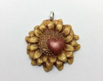 Heart Sunflower Pendant
