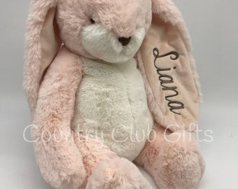 Personalized  bunny | baby shower gift | stuffed bunny | stuffed animal | baby boy gift | baby girl gift | embroidered bunny | Pink bunny