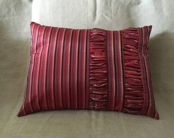 Silk Multicoloured Cushion Cover with Gathered Sections