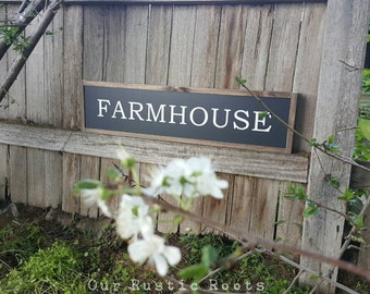 "Farmhouse Sign Australia Framed Painted Wood Modern Country Style Rustic Wood Timber Home Decor - 90 x 22cm (8.75""x35.5"") Property Home Name"