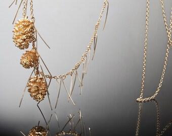 three Swedish mini Pinecones in 24K nature jewelry