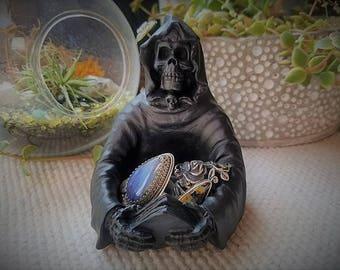 Reaper ring dish, grim reaper candle holder, death is coming, creepy ring dish, angel of death, grim reaper