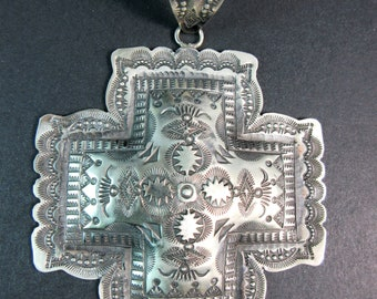 Navajo Vincent Platero~Heavily Stamped~Santa Fe Style~Oxidized 925~Cross Pendant