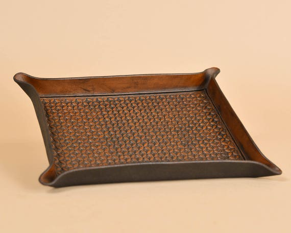 Tooled Leather Valet Tray - Interlocking Circle Pattern - Full Grain Leather - Leather Catchall