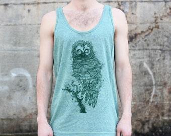 Owl Tank Top, Men's American Apparel Heather Green Tri-Blend Sportswear T-shirt Tee